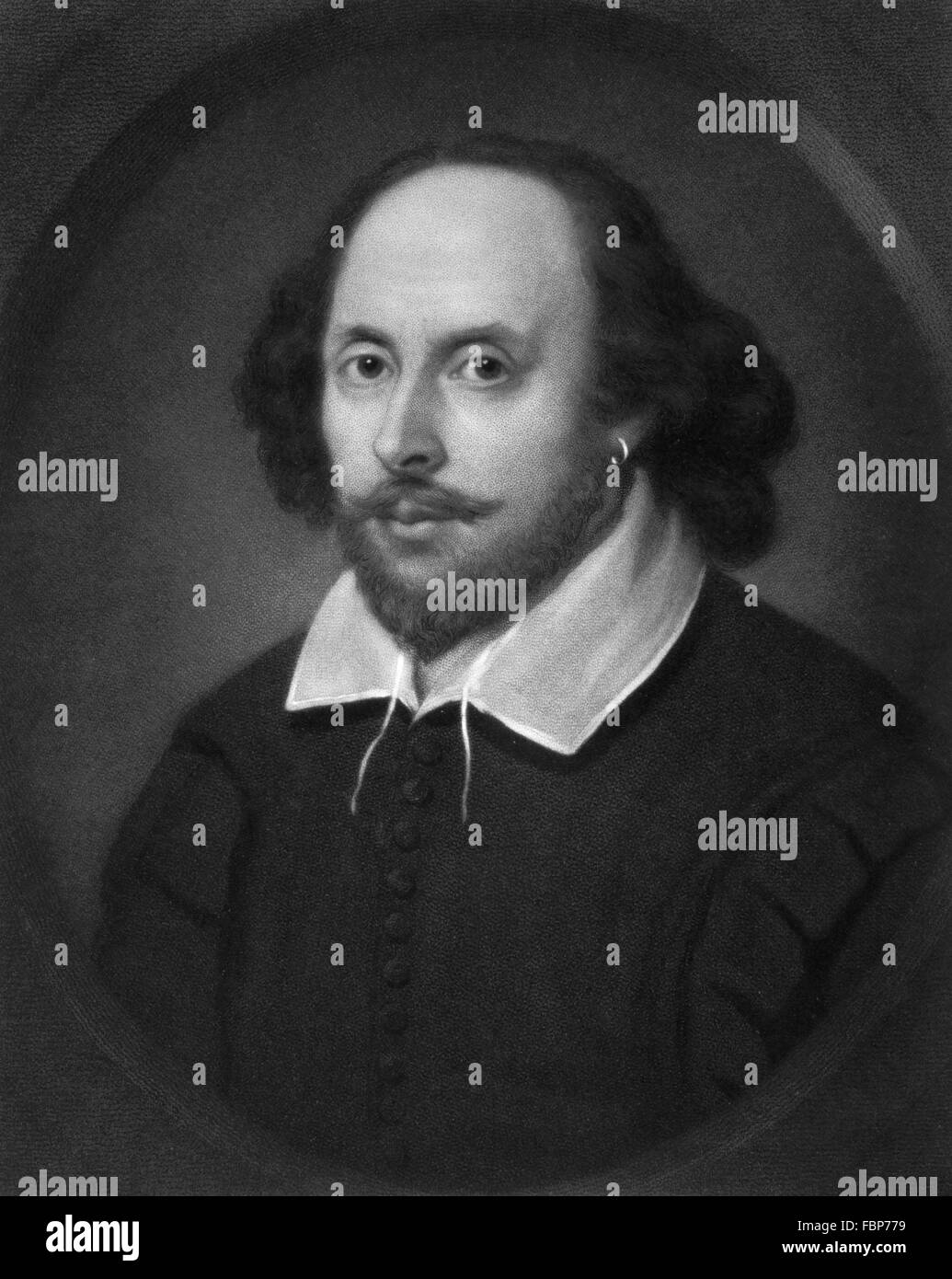 An 1849 engraving by Samuel Cousins from the 'Chandos Portrait' of William Shakespeare - Stock Image