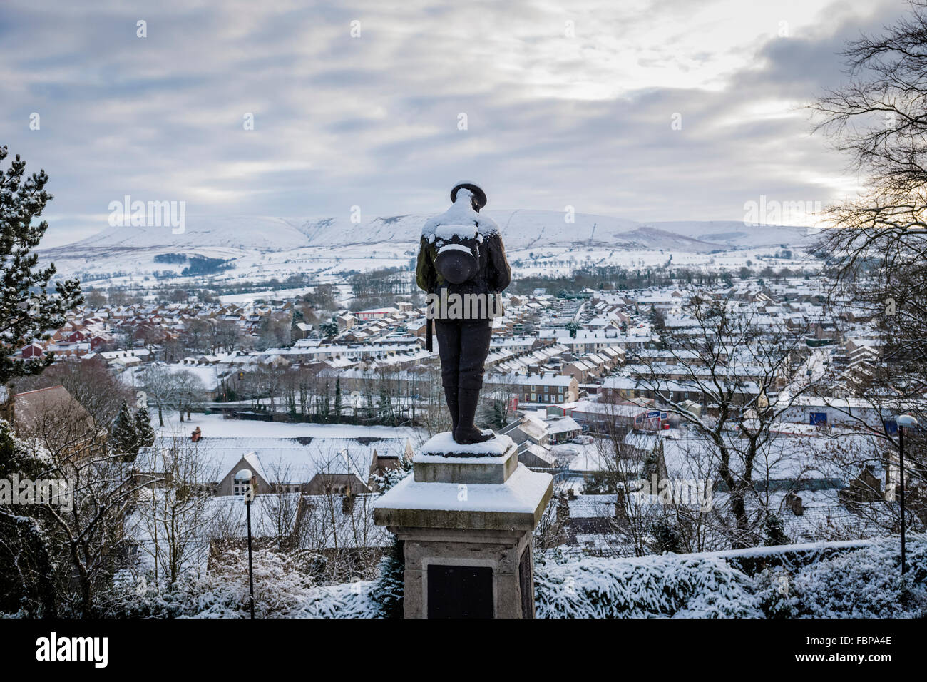 Clitheroe Castle war memorial during winter, Lancashire, UK. - Stock Image
