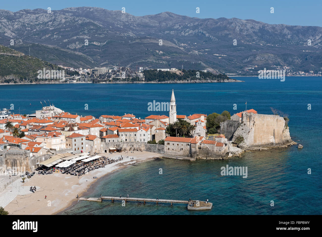 Part of the fortified old town of Budva in Montenegro Stock Photo