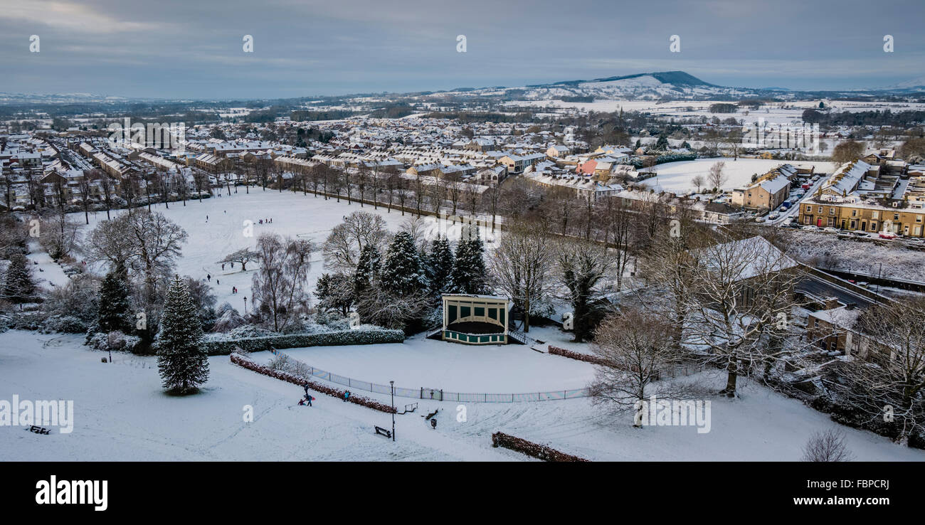 Winter scene looking out over Clitheroe, Lancashire, UK - Stock Image