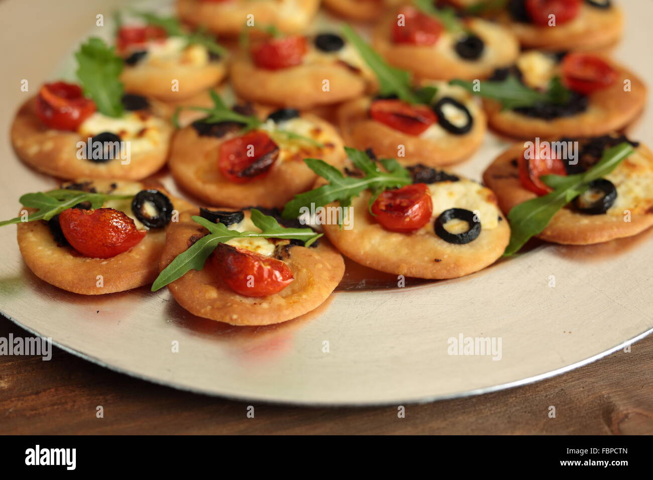 canapes vegetables in a silver - Stock Image