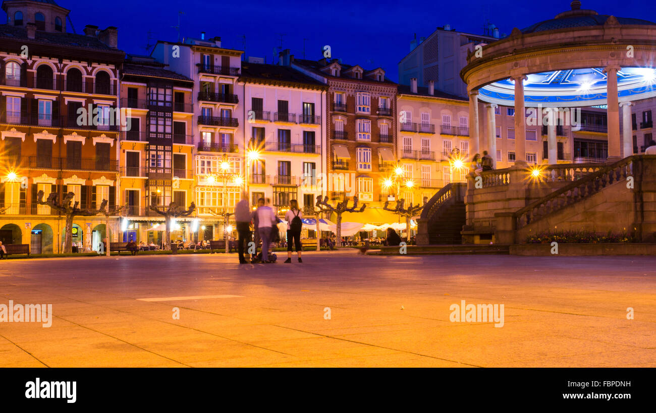 Bandstand in Plaza del Castillo, Pamplona, Navarre, Spain - Stock Image