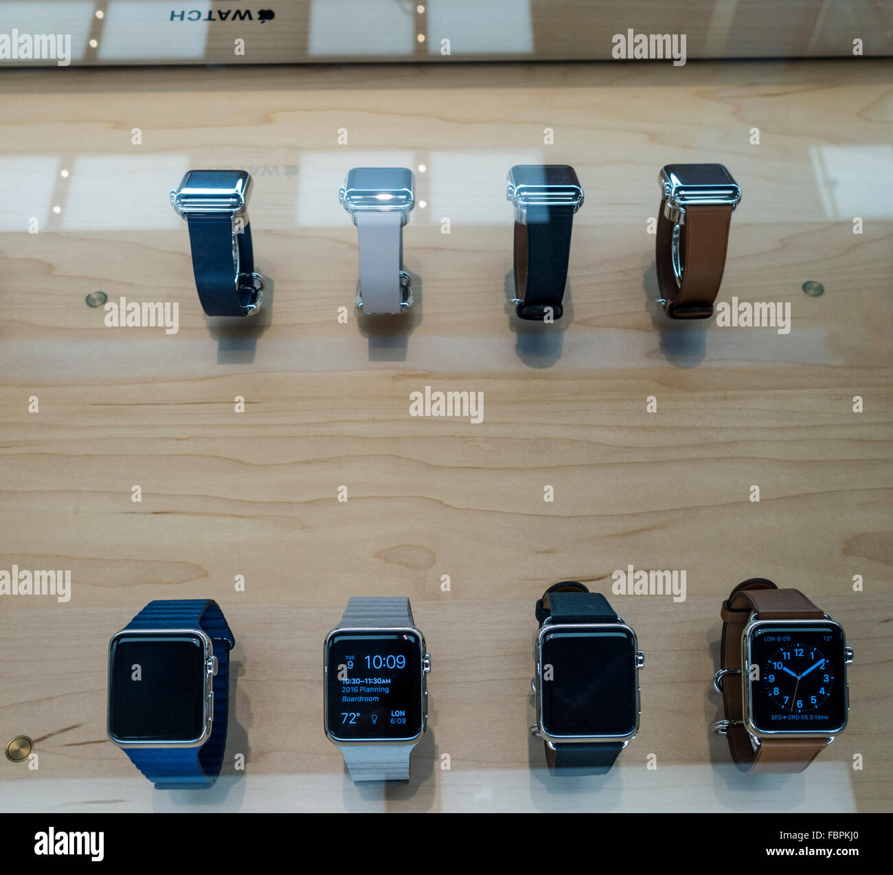 A selection of Apple Watches on sale in Apple Store - Stock Image