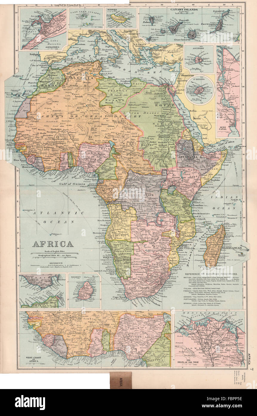 colonial africabritish german french madeira canaries mauritiusbacon 1903 map