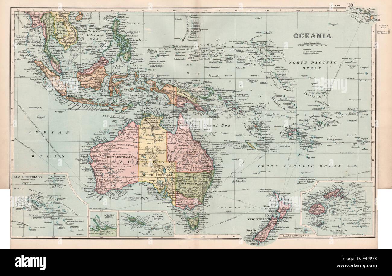 Map Of Australia New Zealand And Fiji.Oceania Australia New Zealand Polynesia Fiji East Indies Bacon
