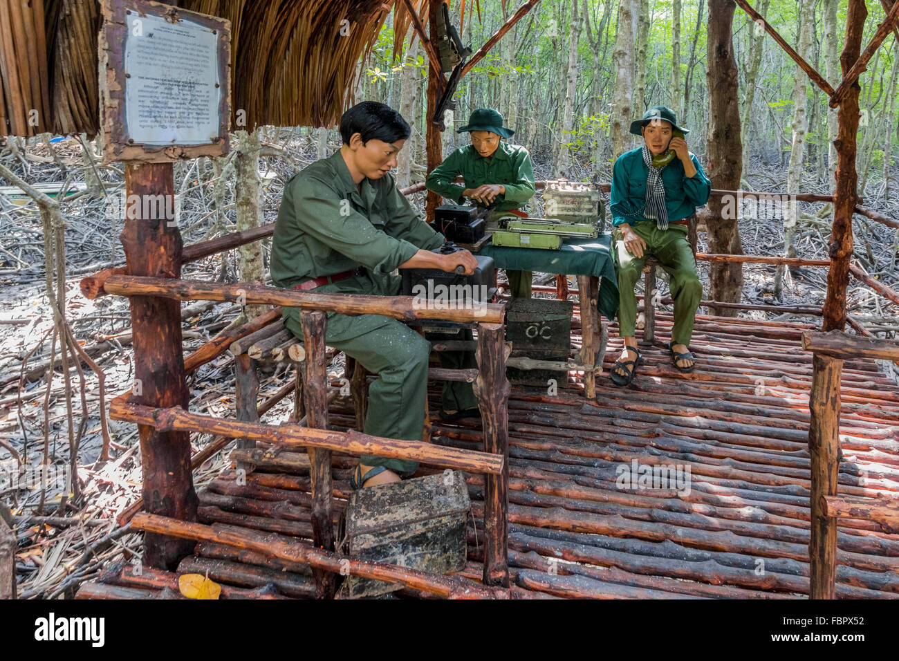 reconstruction of vietcong military base used in vietnam war in the