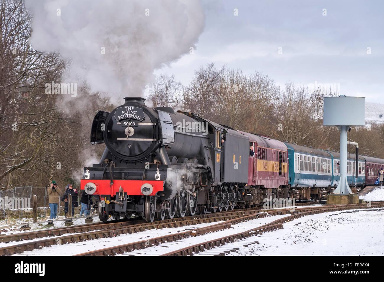 The newly restored Flying Scotsman locomotive on the East Lancashire railway. Stock Photo