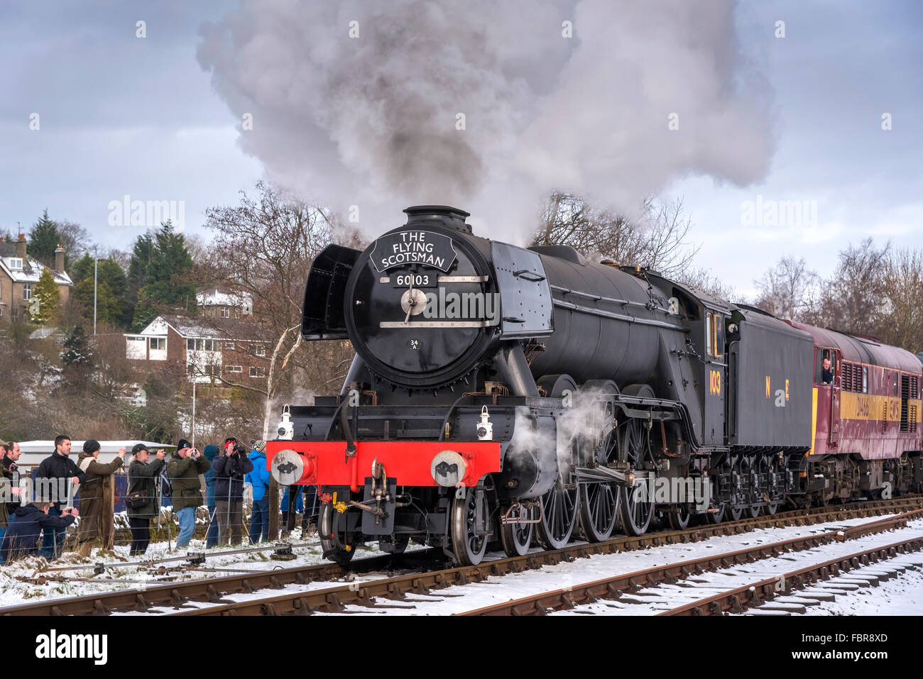 The newly restored Flying Scotsman locomotive on the East Lancashire railway. - Stock Image