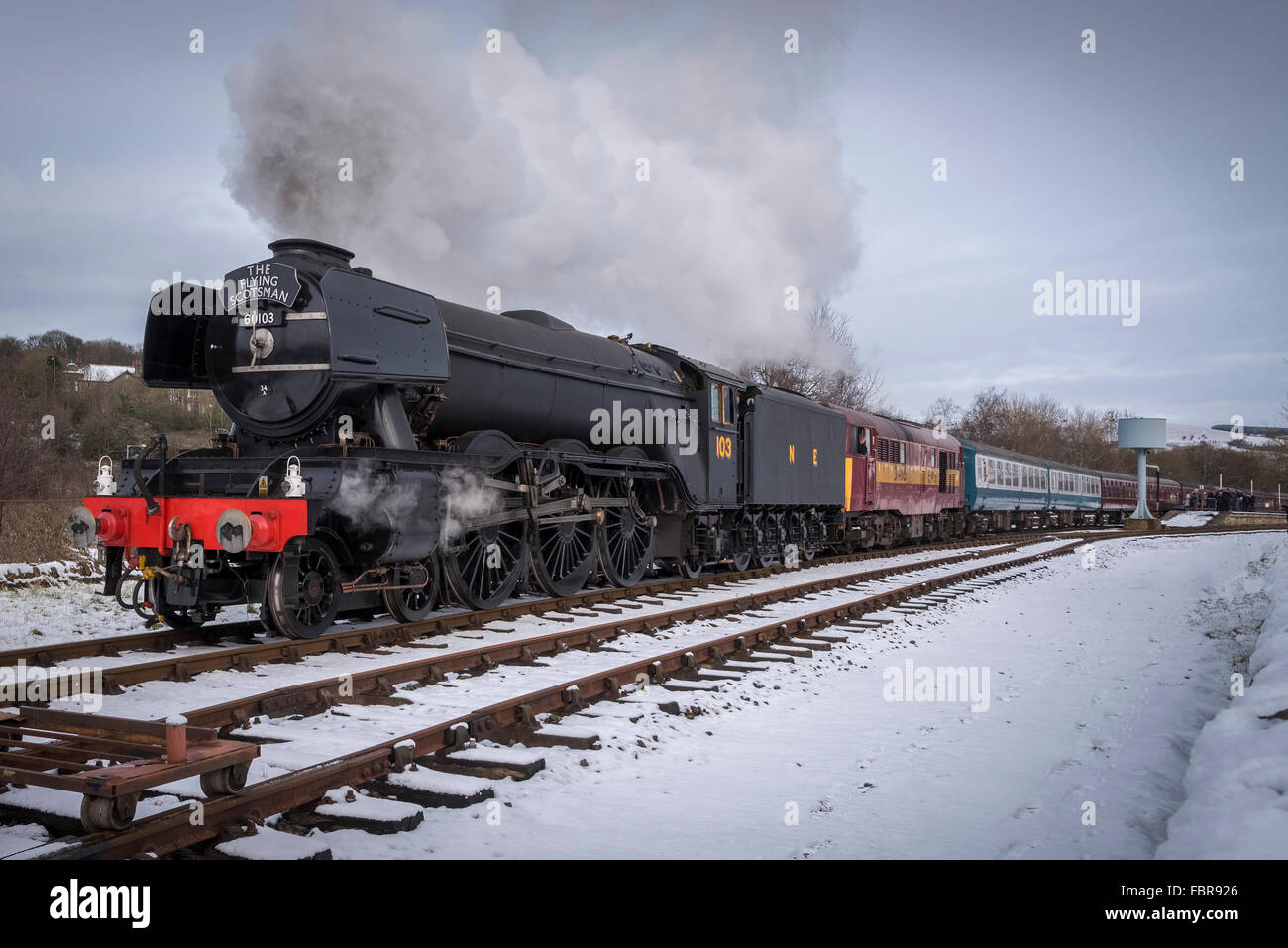 The newly restored Flying Scotsman locomotive on the East Lancashire railway. Stock Photo