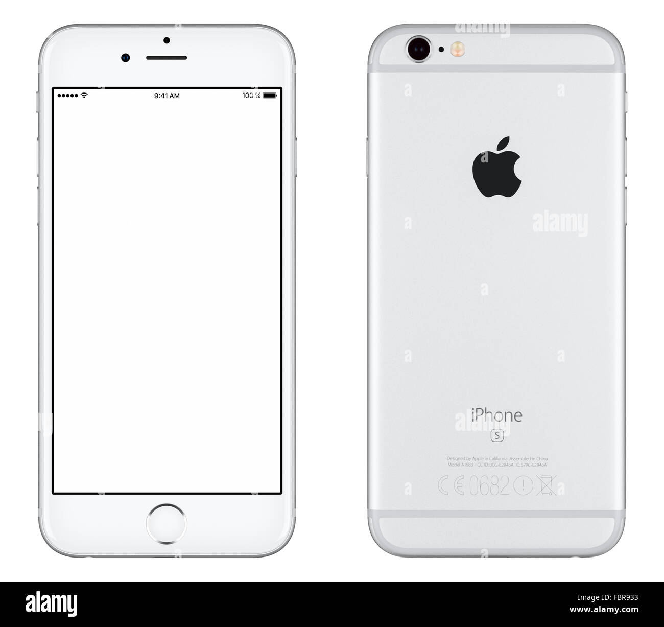 Varna, Bulgaria - October 24, 2015: Front view of Silver Apple iPhone 6S mockup with white screen and back side - Stock Image