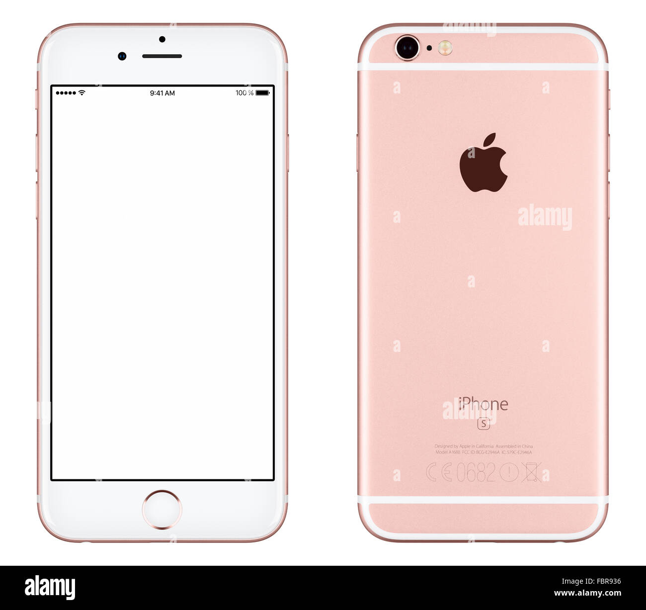 Varna, Bulgaria - October 24, 2015: Front view of Rose Gold Apple iPhone 6S mockup with white screen and back side - Stock Image