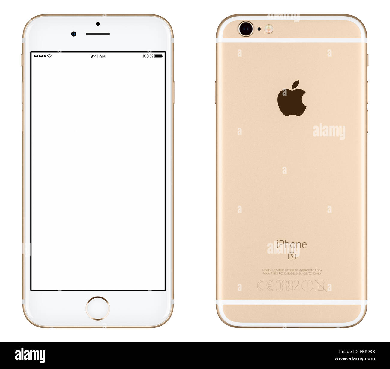 Varna, Bulgaria - October 24, 2015: Front view of Gold Apple iPhone 6S mockup with white screen and back side - Stock Image