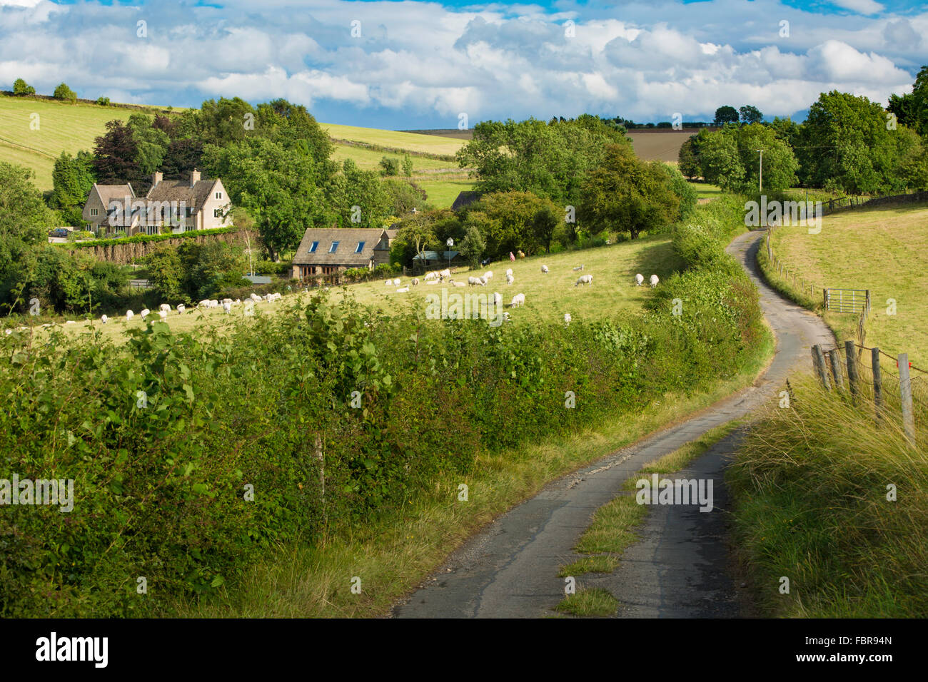 Cottages and countryside near Snowshill,  Gloucestershire, England, UK Stock Photo