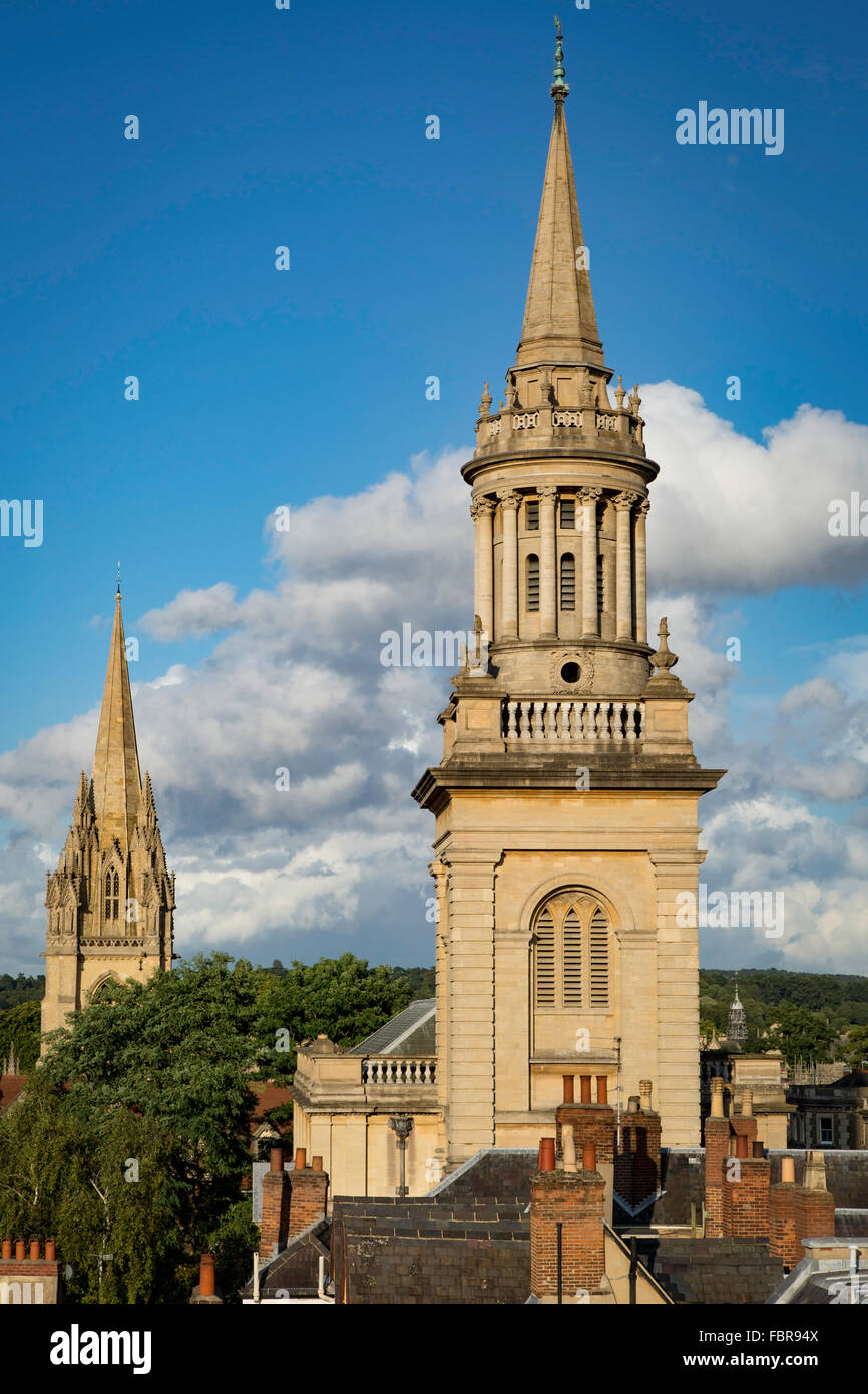 Rooftop view of the towers of Lincoln College Library and St Mary's Church, Oxford, Oxfordshire, England, UK Stock Photo