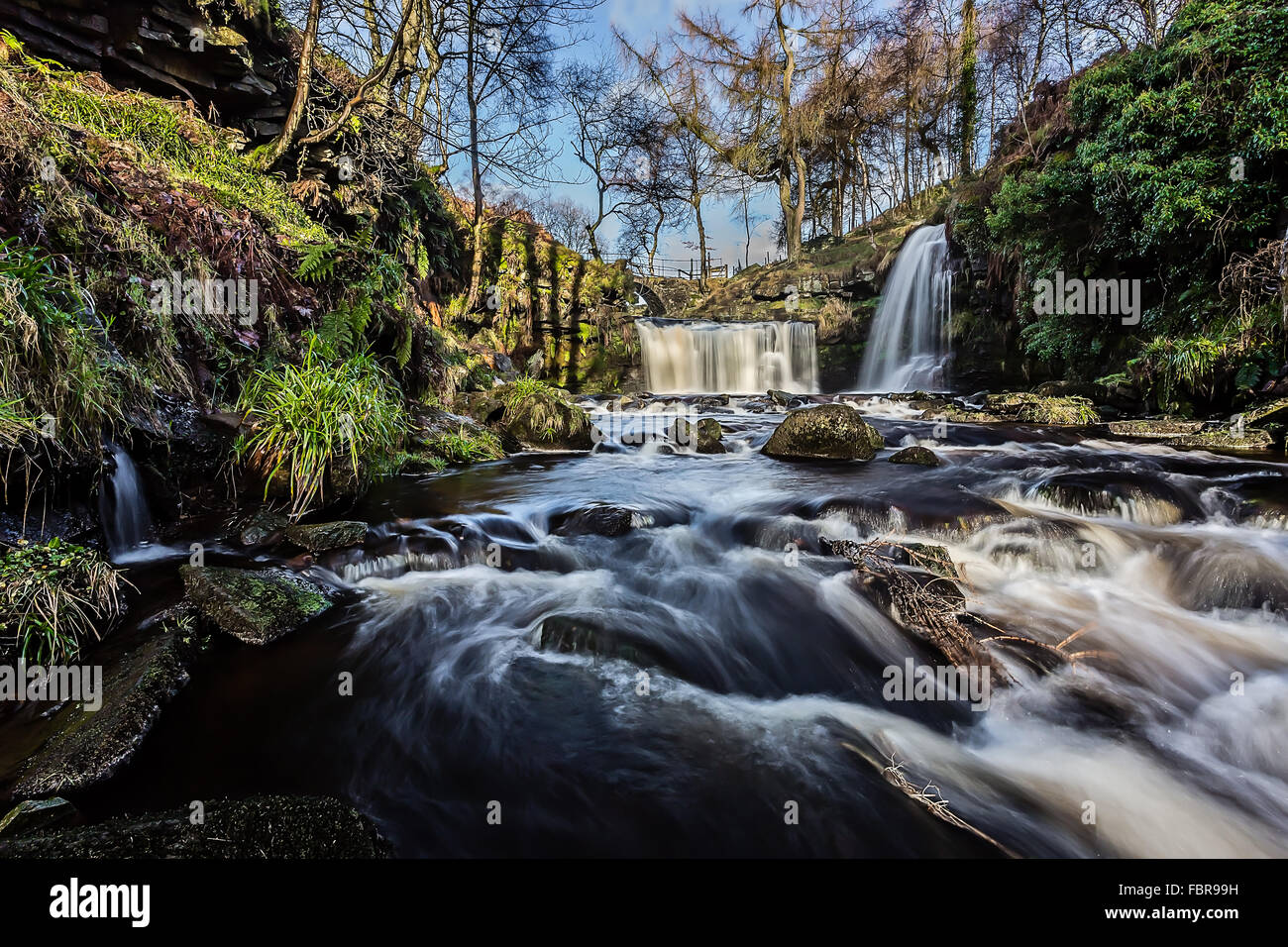 Lumb Falls is a known site for wild swimming , nestled in the valley above Hebden Bridge , Calderdale , West Yorkshire - Stock Image