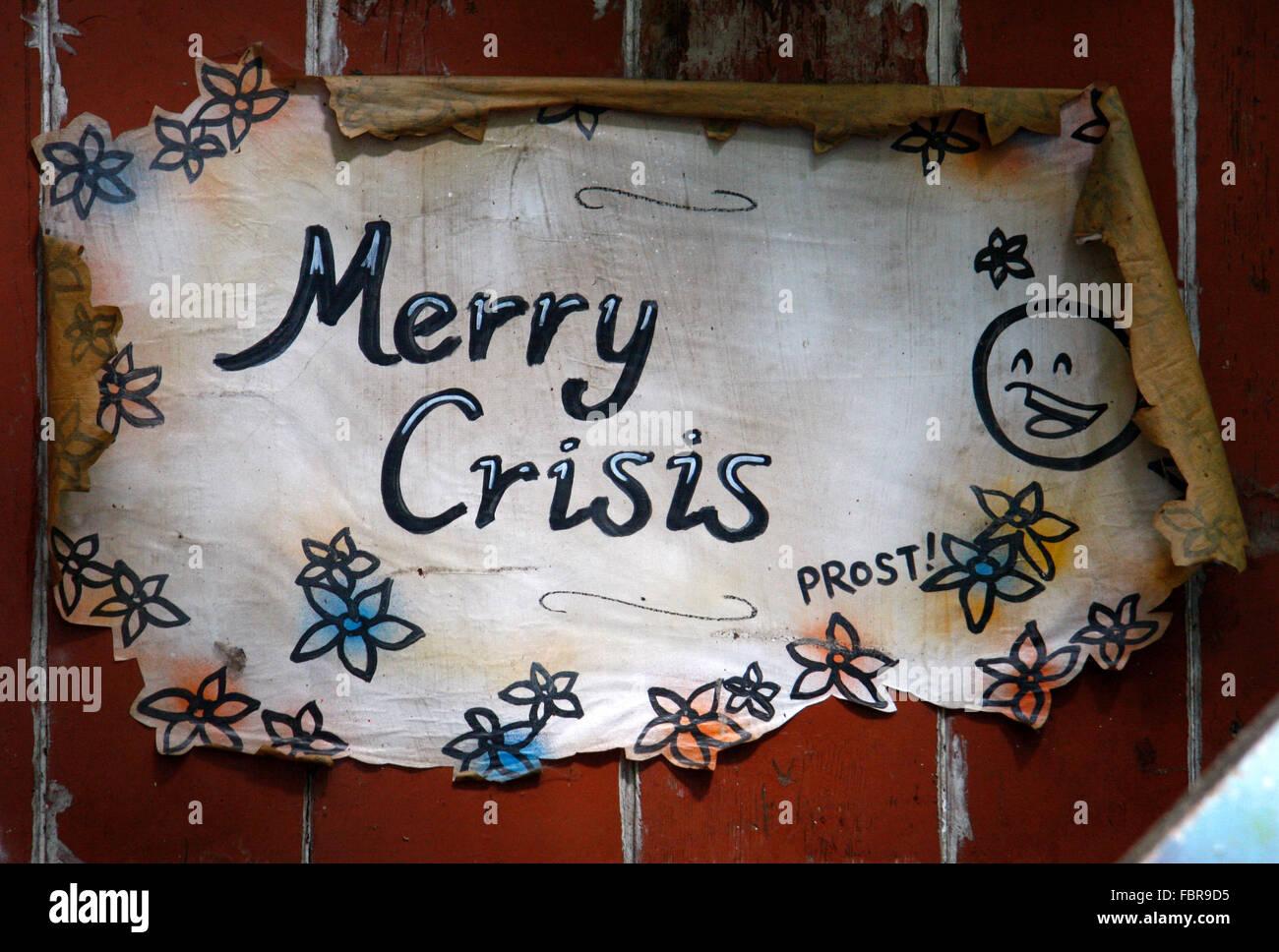 'Merry Crisis' - Wirtschaftskrise, Graffities, Berlin-Kreuzberg. - Stock Image