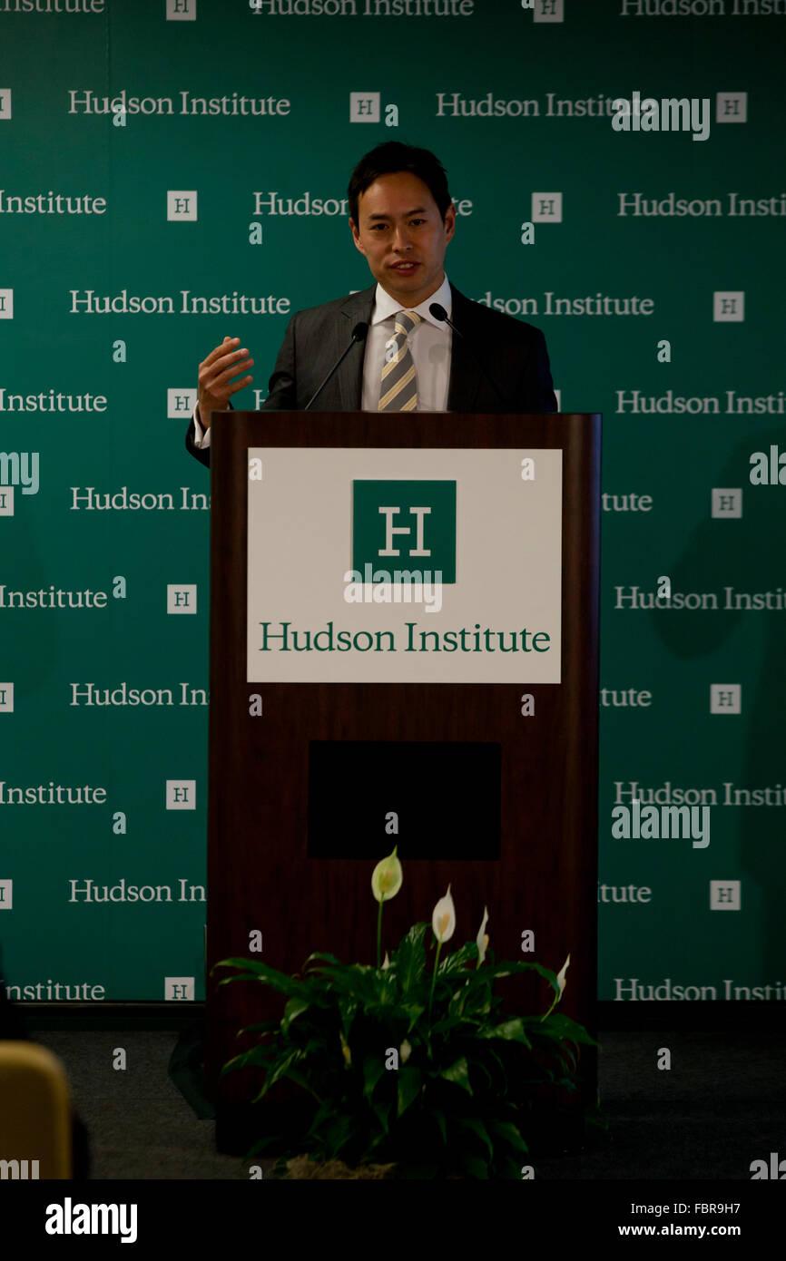 Thursday, November 19, 2015: Dr. John Lee, Senior Fellow at Hudson Institute,  speaking - Washington, DC USA - Stock Image