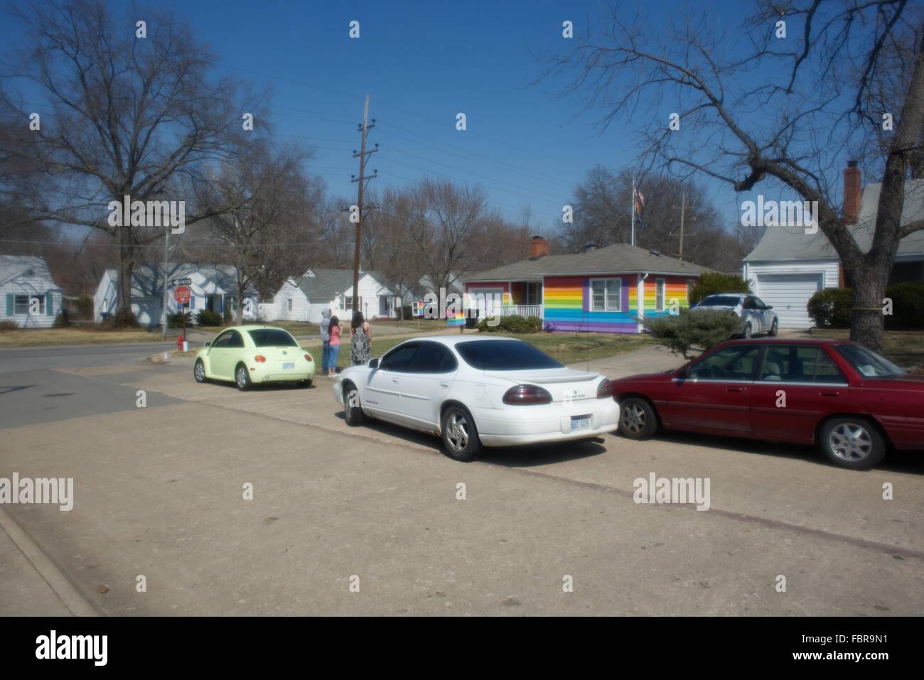 Topeka, Kansas, USA, 29th March, 2014 The Rainbow House Topeka Kansas. Aaron Jackson, one of the founders of Planting Stock Photo