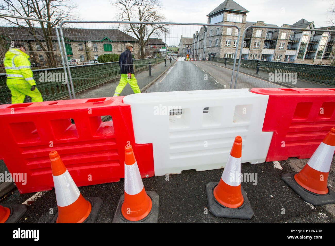 Storm Desmond resulted in over thirty bridges being destroyed or damaged in Cumbria, disrupting transport. In Kendal - Stock Image