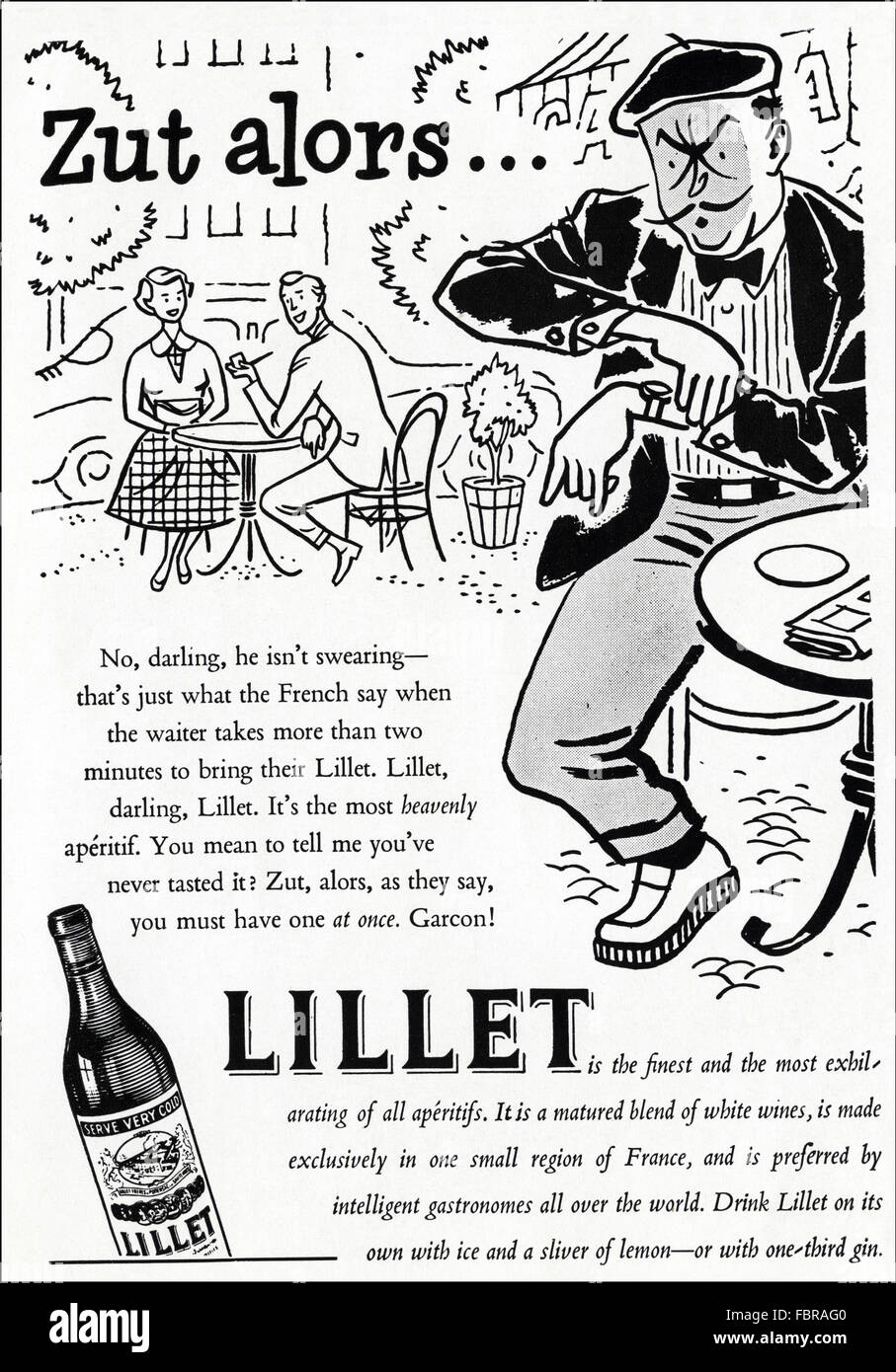 Original vintage advert from 1950s. Advertisement from 1954 advertising Lillet aperitif. - Stock Image