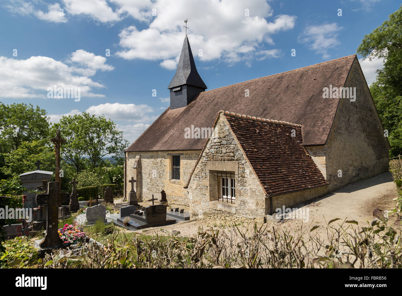 The church of Coudehard Orne (Eglise De Coudehard), on hill 262 high above the Falaise Pocket, Normandy, France Stock Photo