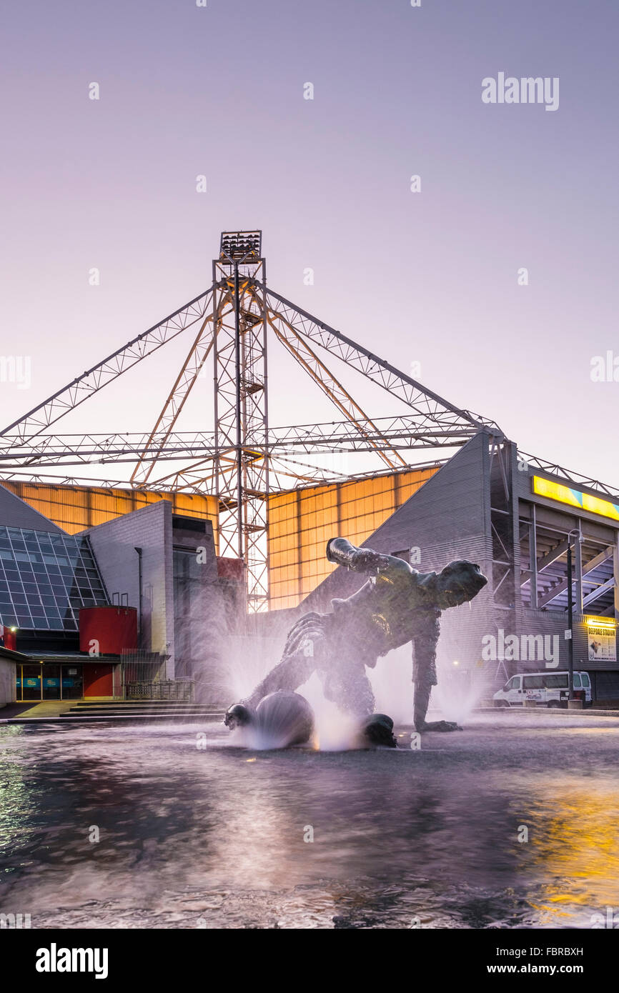 The Sir Tom Finney statue outside Preston North End FC's Deepdale Stadium - Stock Image