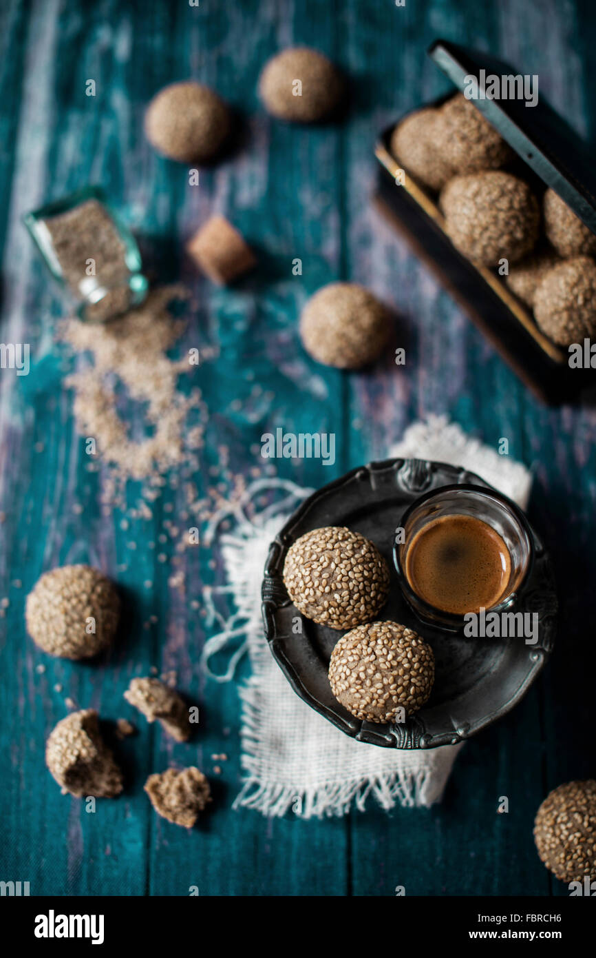 Tahini cookies. Set on a vintage wooden table - Stock Image