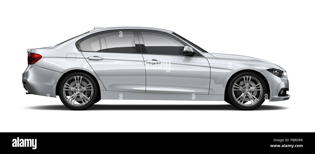 Silver sedan car - side angle - Stock Image