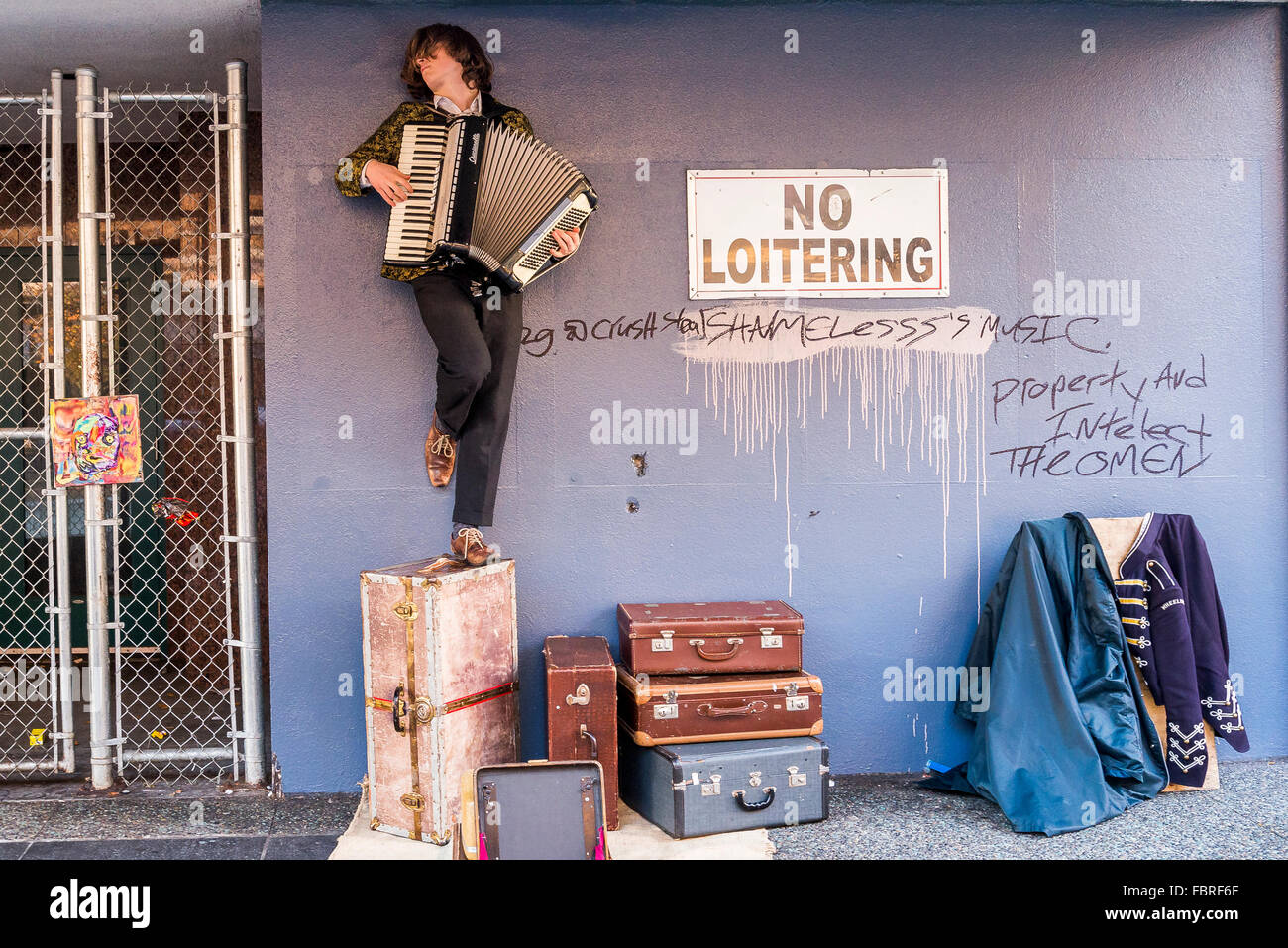 Accordian playing busker, Granville Street, Vancouver, British Columbia, Canada, - Stock Image