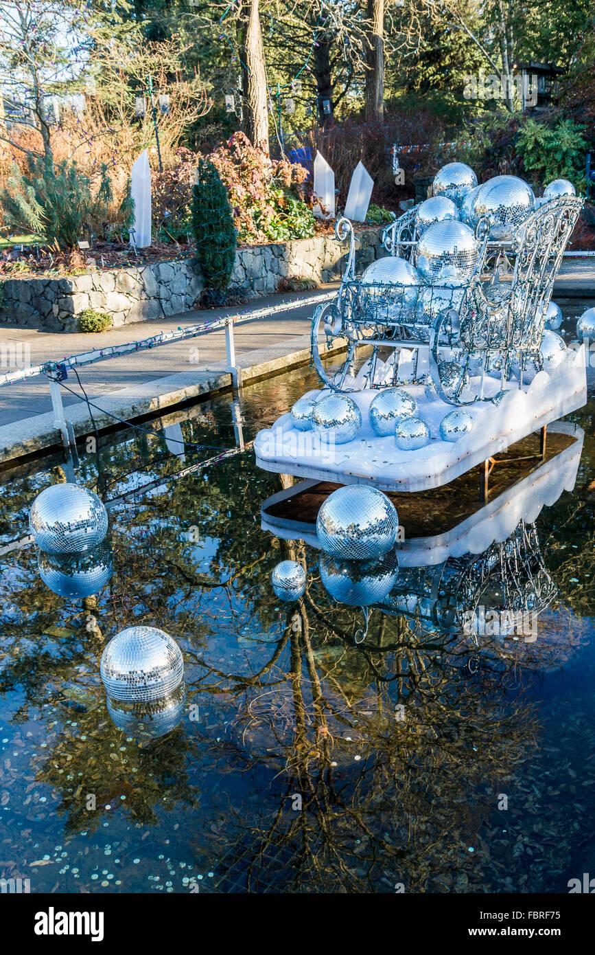 Christmas sleigh display, Van Dusen Gardens, Vancouver, British Columbia, Canada - Stock Image