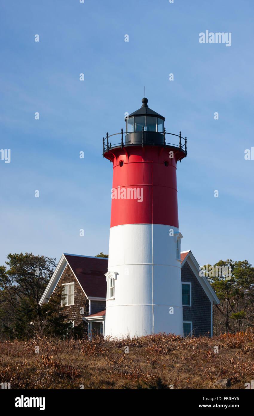 Nauset Light , a landmark lighthouse located along the Cape Cod National Seashore, in Eastham, Massachusetts, USA - Stock Image