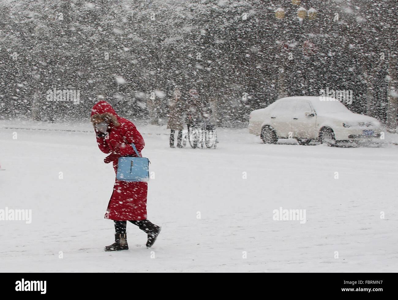 Yantai, China's Shandong Province. 19th Jan, 2016. People walk in snowstorm in Yantai City, east China's - Stock Image
