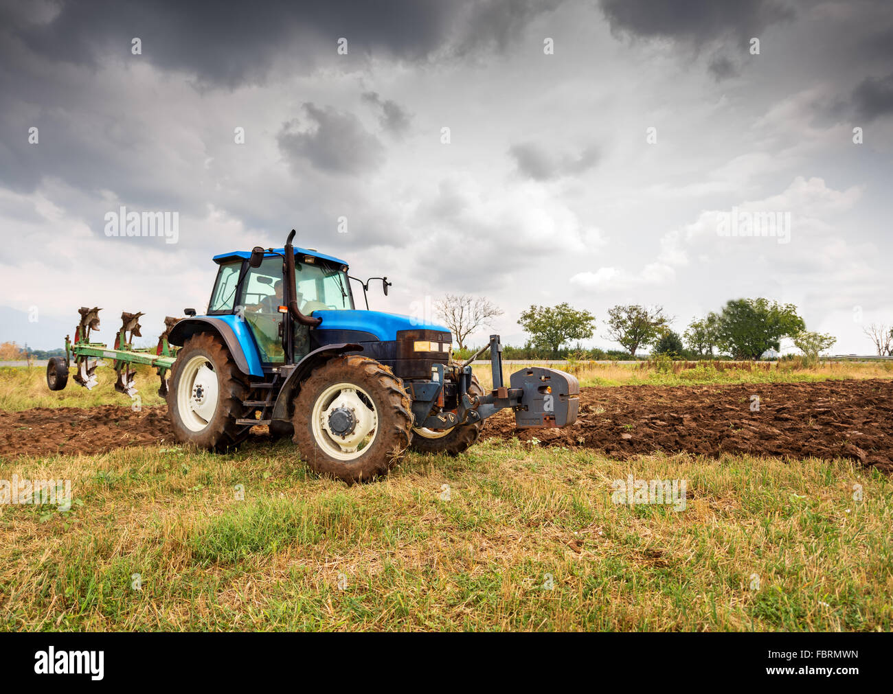 Kazanlak, Bulagria - Aug 20: New Holland 8160 tractor on display in Salo, Finland on Aug 20, 2015. In Europe, agricultural - Stock Image