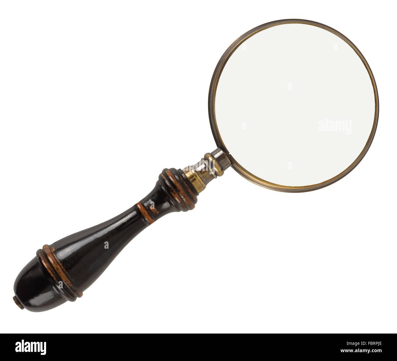 Vintage magnifying glass isolated on white background - Stock Image