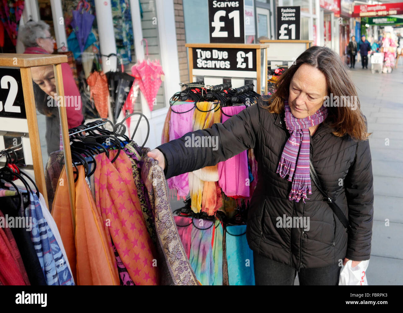 Shopping for bargains in Lord Street Southport. Stock Photo