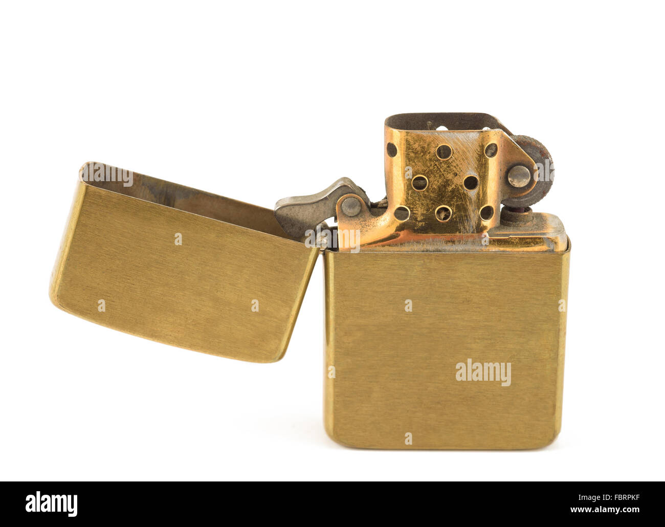 A vintage zippo lighter opened isolated on white. - Stock Image