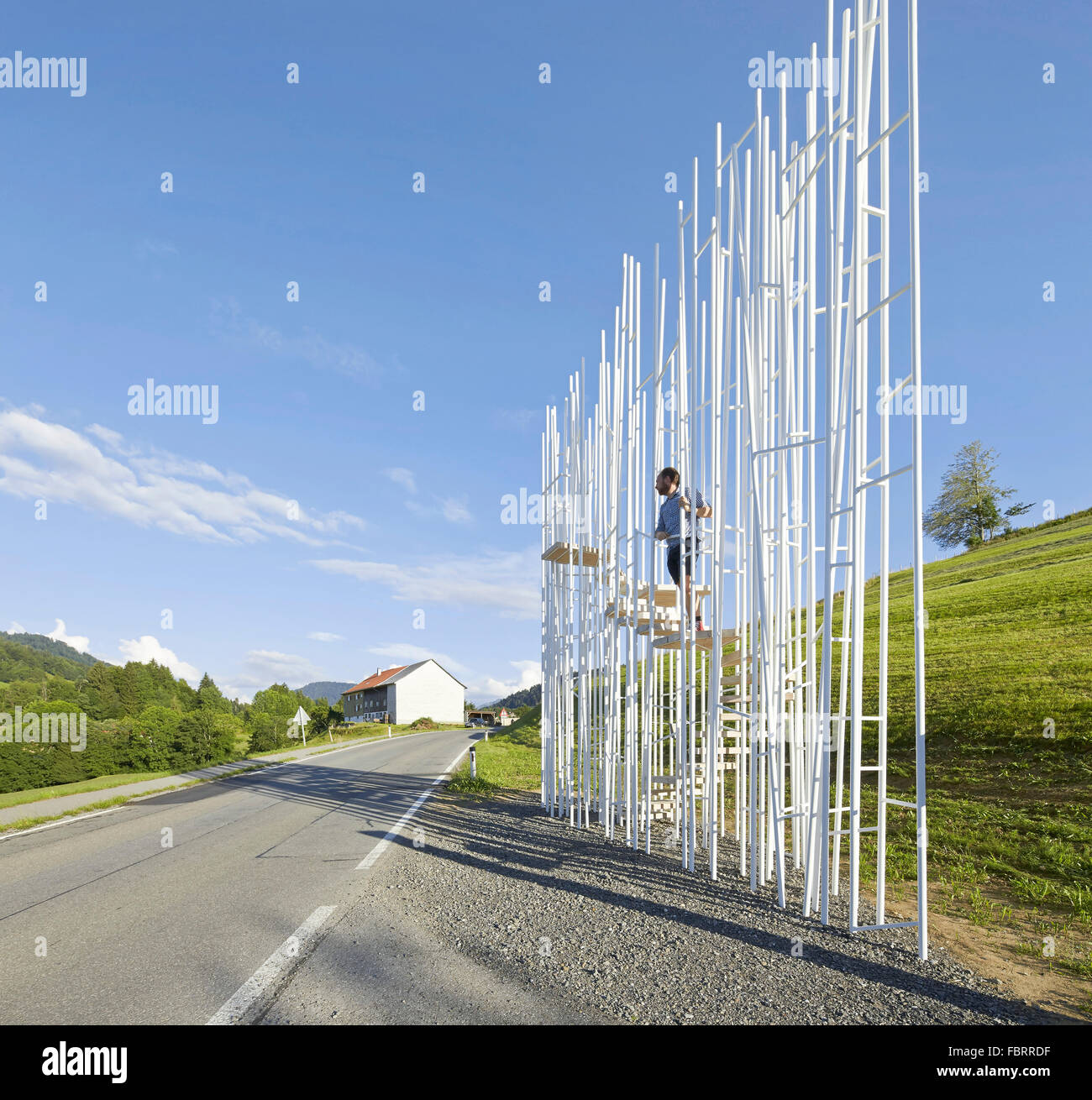 Bus stop elevating a staircase amongst a field of slender posts. project:BUS:STOP in Krumbach, Austria, Bränden, - Stock Image