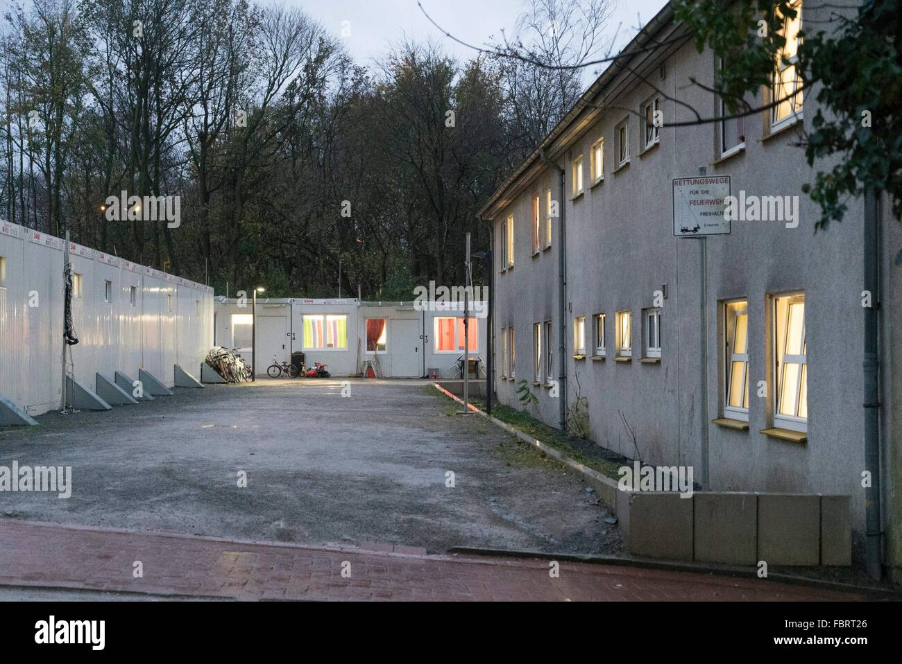 residential containers in a refugee camp in Bochum, 15.11.2015 - Stock Image
