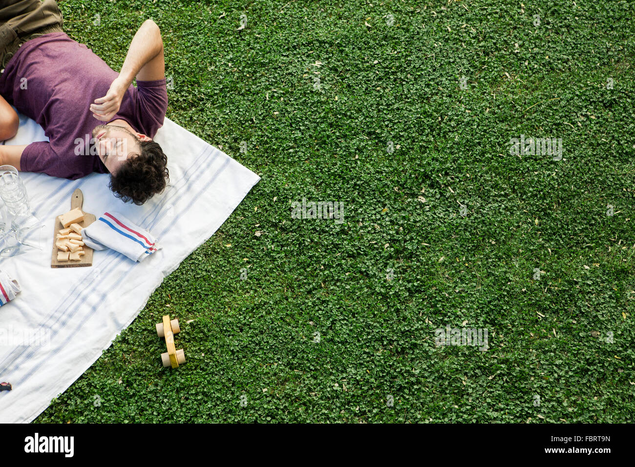 Summer picnic in the park with friends - Stock Image