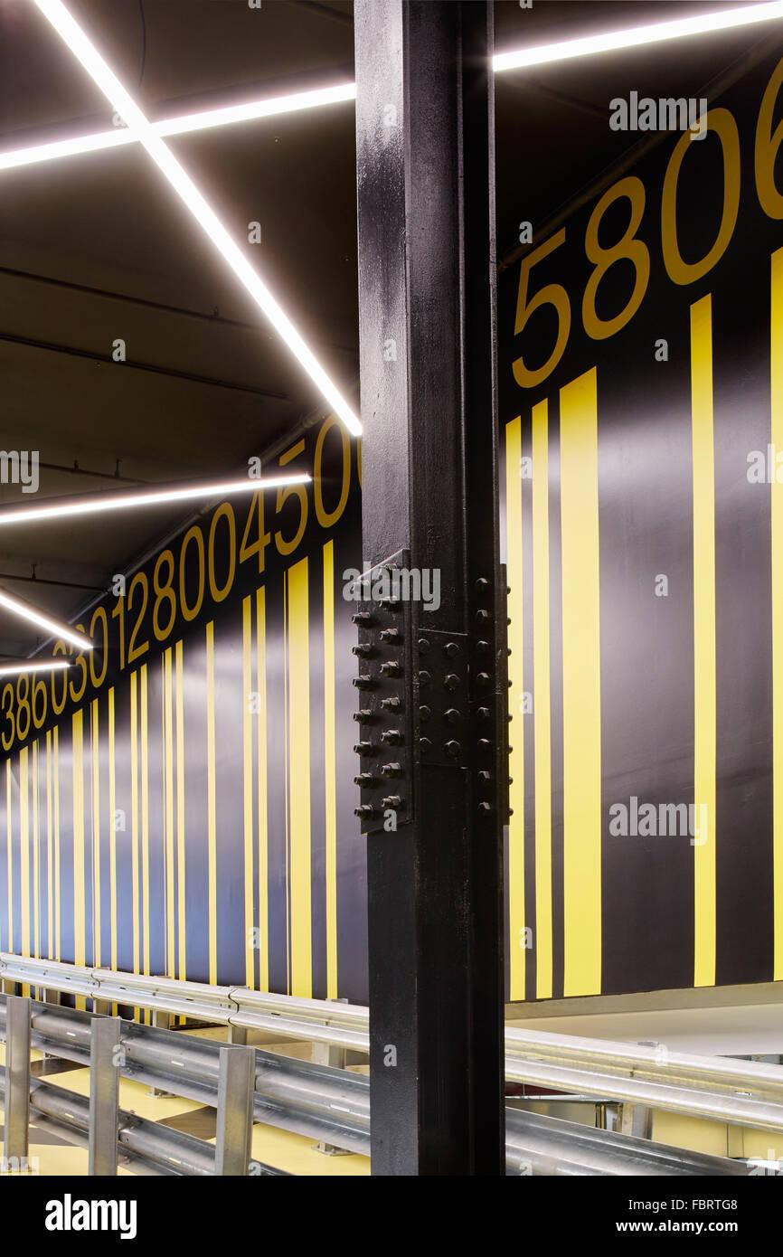 Bar code graphics of cycle ramp  The Alphabeta Building