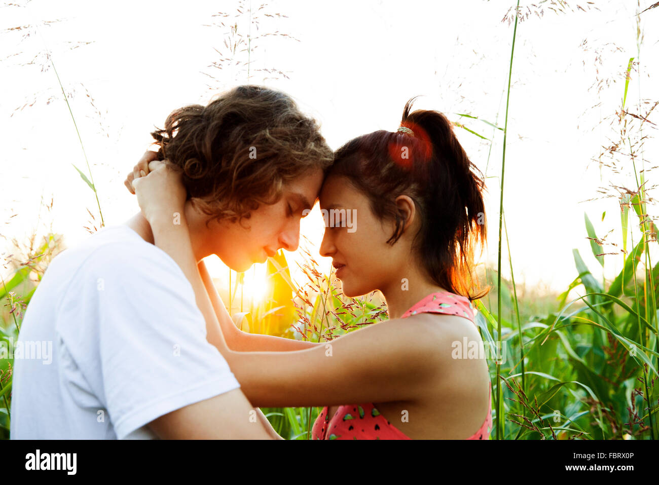 Young couple embracing, touching foreheads Stock Photo
