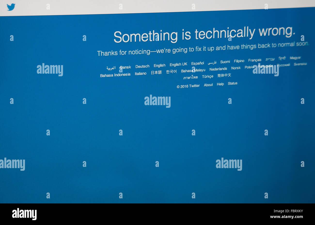 London UK, 19 January 2016 Twitter Down For Millions Of Users Worldwide - Twitter fell offline on this morning, - Stock Image