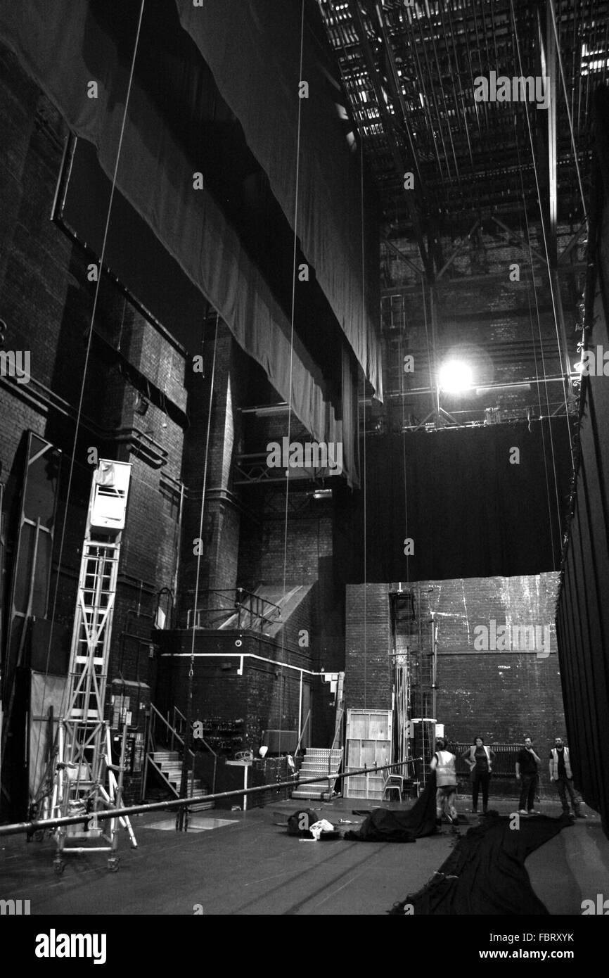 Backstage staff at Frank Matcham's Bristol Hippodrome Crew after the Welsh national Opera 2015 - Stock Image