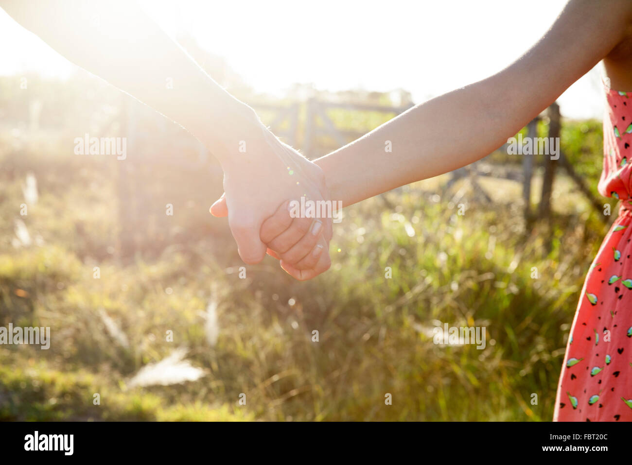 Couple holding hands, close-up - Stock Image