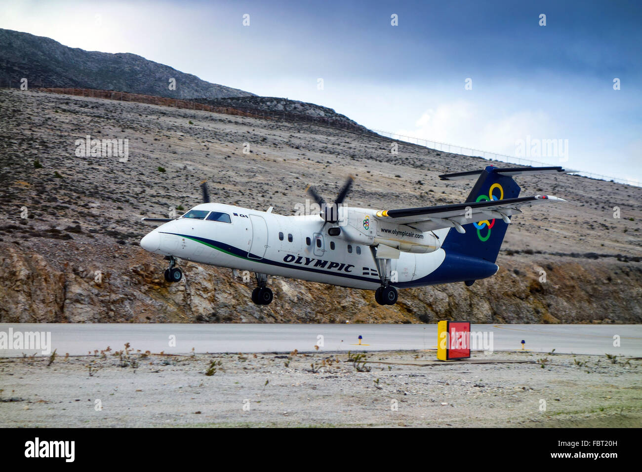 Aegean Airlines Bombardier Dash aircraft taking off from Kalymnos - Stock Image