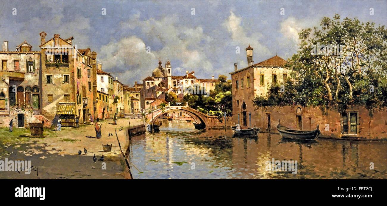 Venetian Canal by Reyna Manescau, Antonio María  1859 - 1937 Spanish Spain - Stock Image