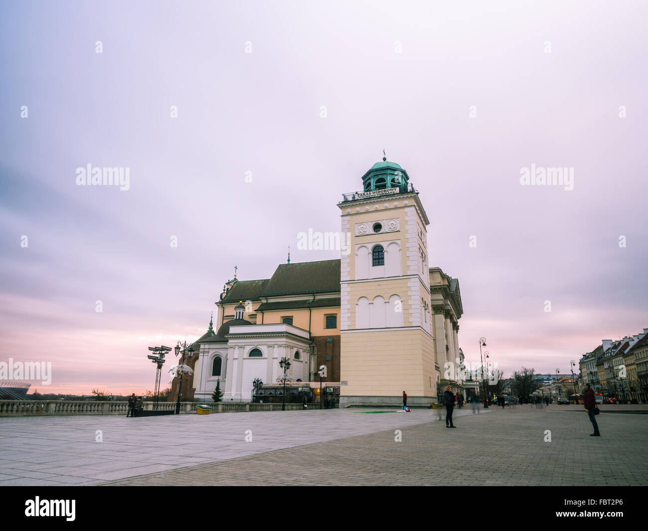 Saint Anna's church in the Old Town of Warsaw, Poland in the early evening at winter time. - Stock Image