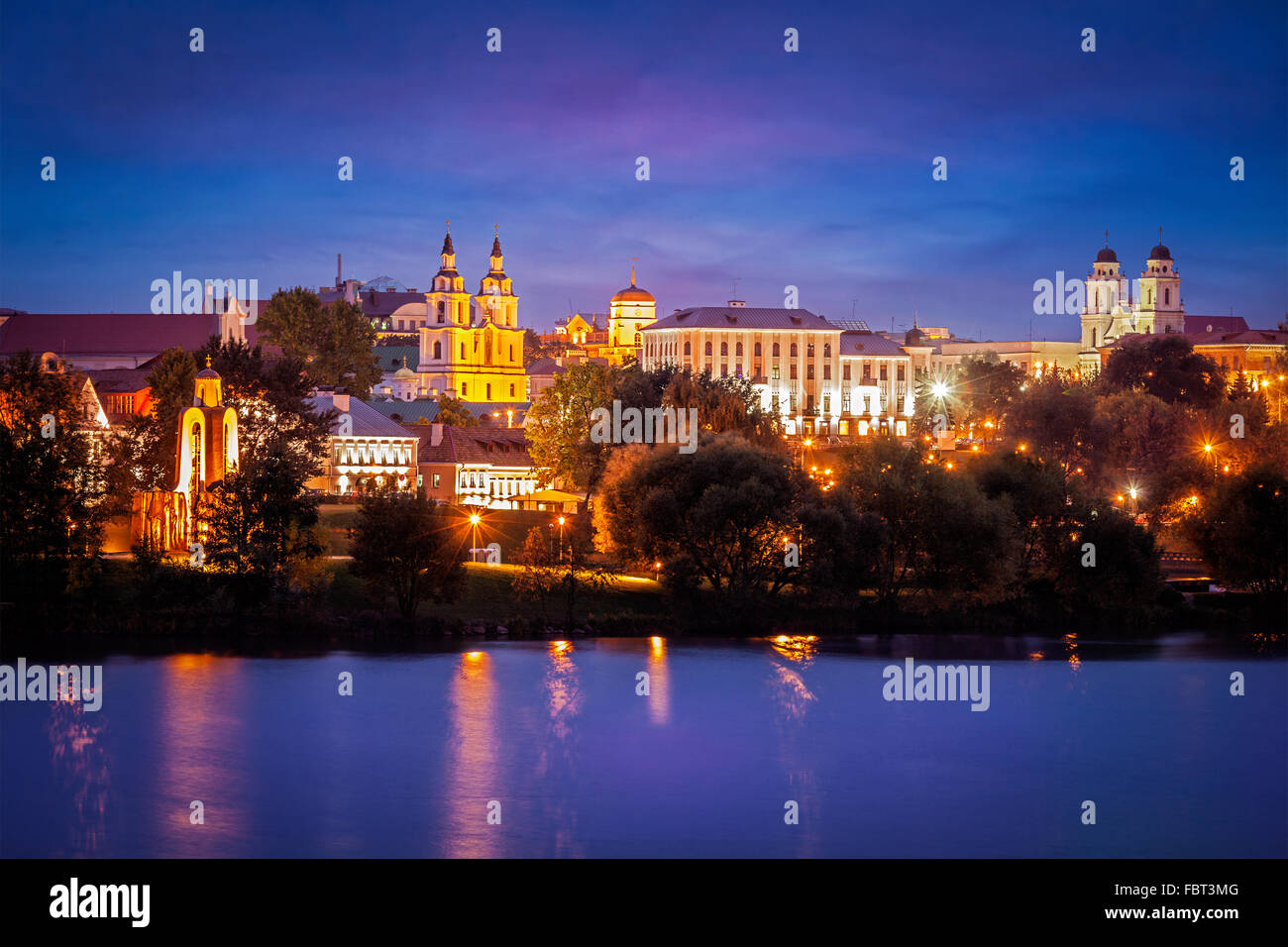 Evening view of Minsk cityscape - Stock Image