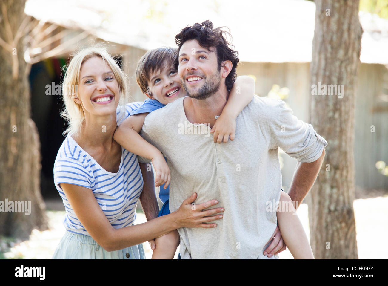 Family with one child, portrait - Stock Image