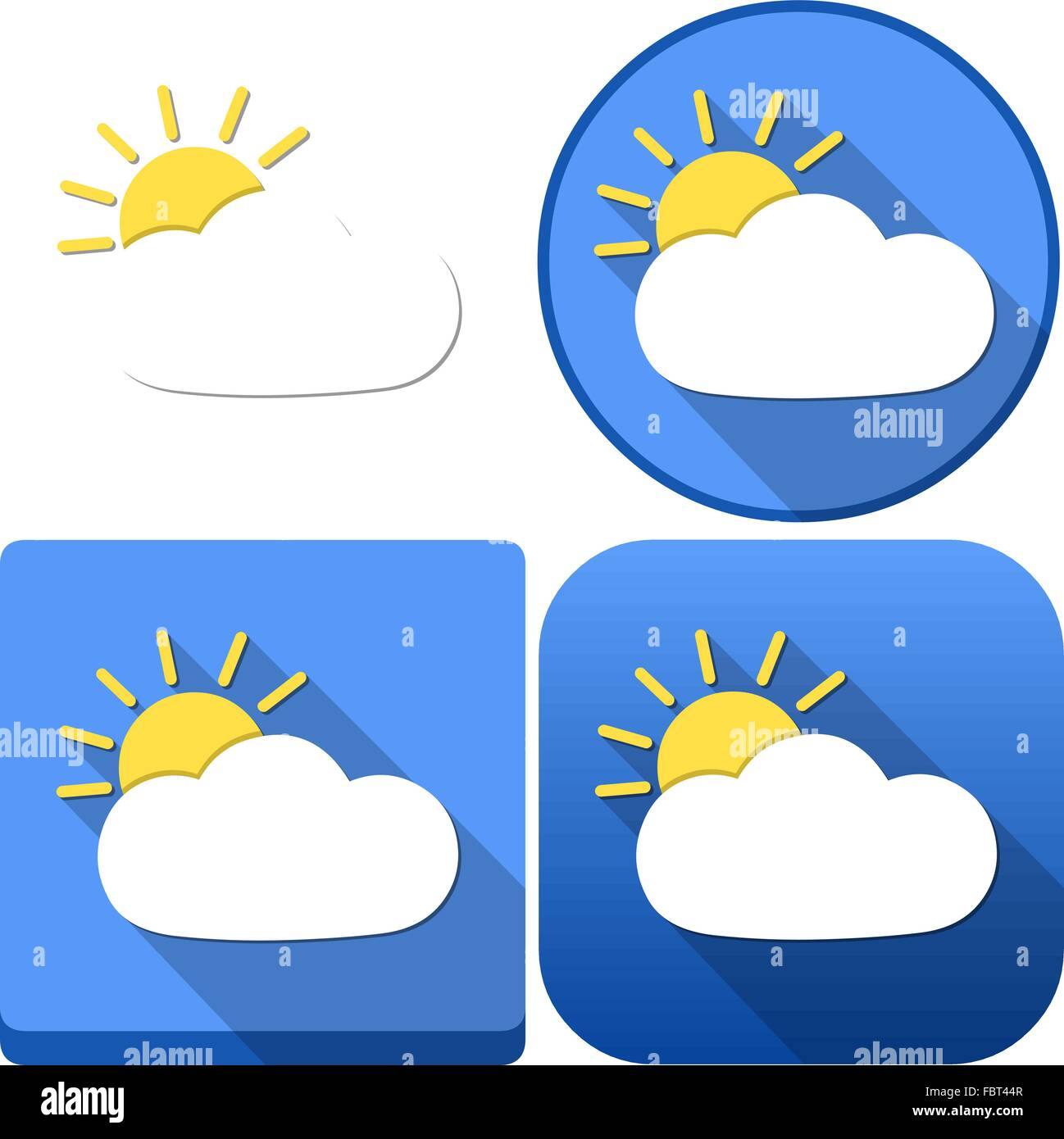 Vector illustration pack of a cloud and sun as the weather and icons for android and ios. - Stock Vector